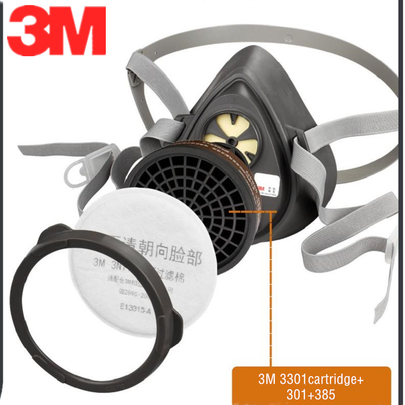 3M Painting Spraying 3200 Half Gas Mask Fittings Suit 3N11 Anti-static Dust Filter Cotton 385 Cover 3301 Carbon Filter Pesticide