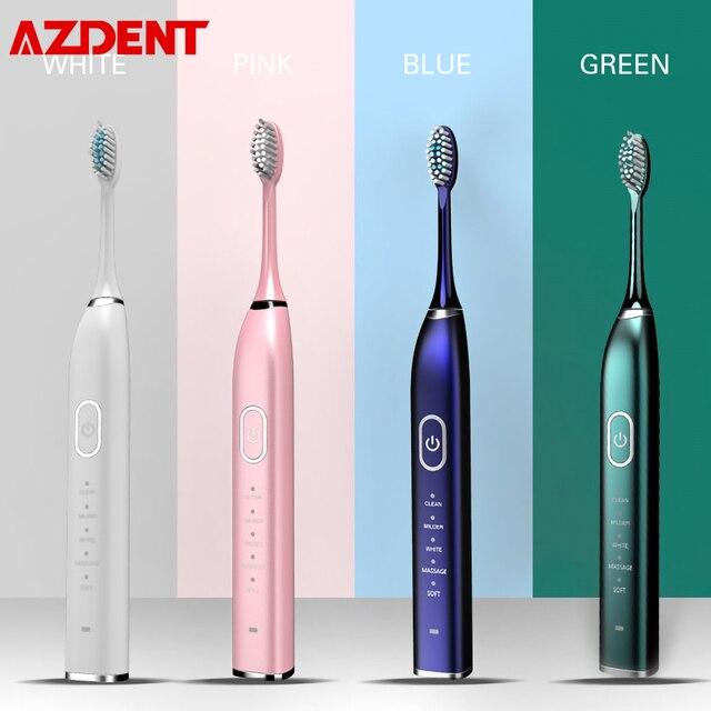 Brosse à dents électrique ultrasonique Rechargeable par USB, 5 têtes de brosse, 5 Modes, 2 intensités vibrantes, rappel 30S, 2min, minuterie étanche