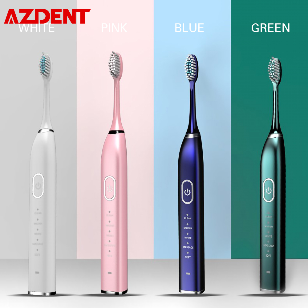 USB Rechargeable Ultrasonic Electric Toothbrush 5 Brush Heads 5 Modes 2 Vibrating Intensity 30S Reminder 2min Timer Waterproof