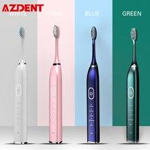 USB şarj edilebilir ultrasonik elektrikli diş fırçası 5 fırça kafaları 5 modları 2 titreşimli yoğunluklu 30S hatırlatma 2 dakika zamanlayıcı su geçirmez