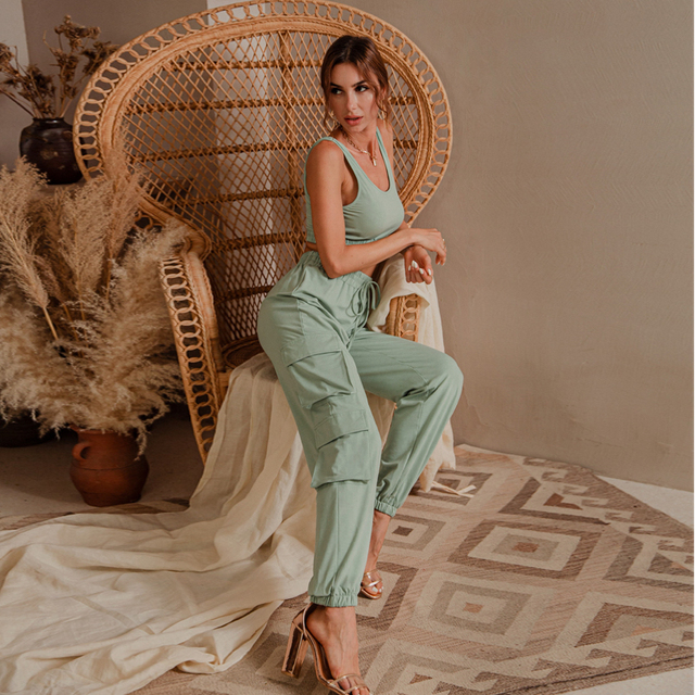 Glamaker Green sleeveless fitness suit set women crop top and pant two piece set casual fashion pocket ladies autumn tracksuit 4