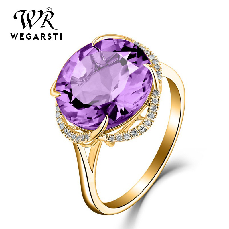 WEGARSTI 925 Silver Jewelry For Women With Pointed Navy Round Pueple Yellow Stone Fine Jewelry Engagement Valentine's Gifts