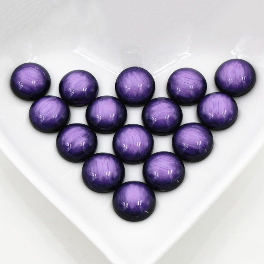 New Fashion 40pcs 12mm Purple Colors Stylish Brushed Style Flat Back Resin Cabochons Cameo-V5-10