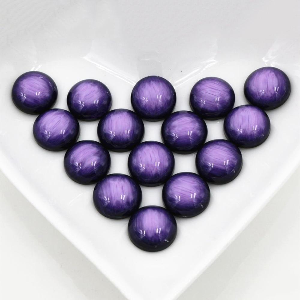 New Fashion 40pcs 12mm Purple Colors Stylish Brushed Style Flat Back Resin Cabochons Cameo-V5-10
