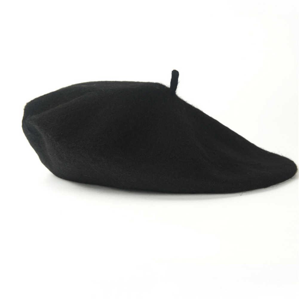 Gorro de lã quente simples boina chapéu artista francês kawaii tampões de topo liso cor sólida boné para meninas de alta qualidade