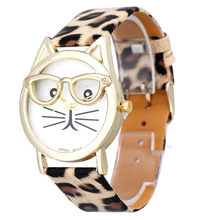 Montres Femme Women Watches Cute Glasses Cat Women Analog Quartz Dial Wrist Watch Bracelet Watch Relojes Mujer 2020 New(China)
