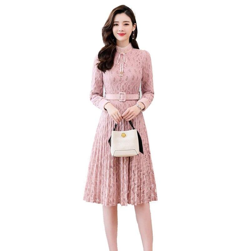 Nouvelle robe en dentelle coréenne Dpring et automne mode Simple manches longues Patchwork taille haute Slim longue jupe