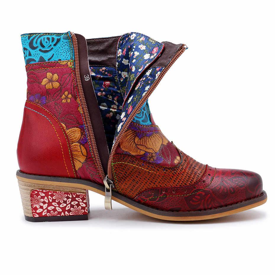 Artı boyutu 27.5cm kadın yarım çizmeler Vintage baskılı çizmeler ayakkabı kadın kış 2019 hakiki deri bayan bayan batı kovboy çizmesi