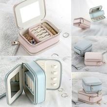 Household Jewelry Storage Box Double Zipper Type Portable Ring Earrings Necklace Storage Box PU Leather Lipstick Storage Box недорого