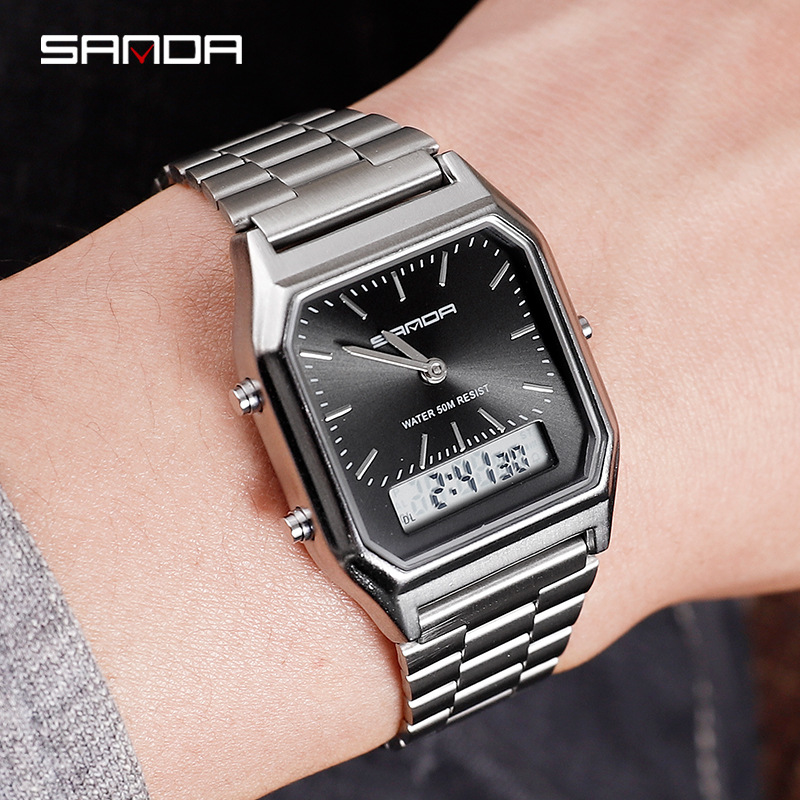 Fashion Watch Men 50m Waterproof Sport Watch Women Retro Steel Band Digital Watch Double Time Display Electronic Clock Reloj in Digital Watches from Watches