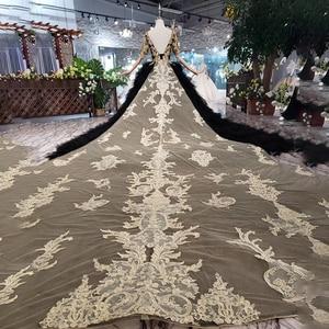 Image 2 - LS20339黒のイブニングドレス2020 o ネック、vバックゴールデンレースケーキスタイル取り外し可能な列車のドレス女性のためのパーティー