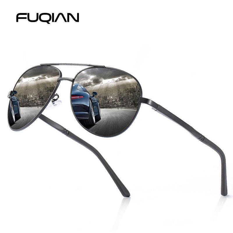 FUQIAN classique pilote lunettes de soleil polarisées hommes Vintage grande conduite lunettes de soleil noir nuances lunettes UV400