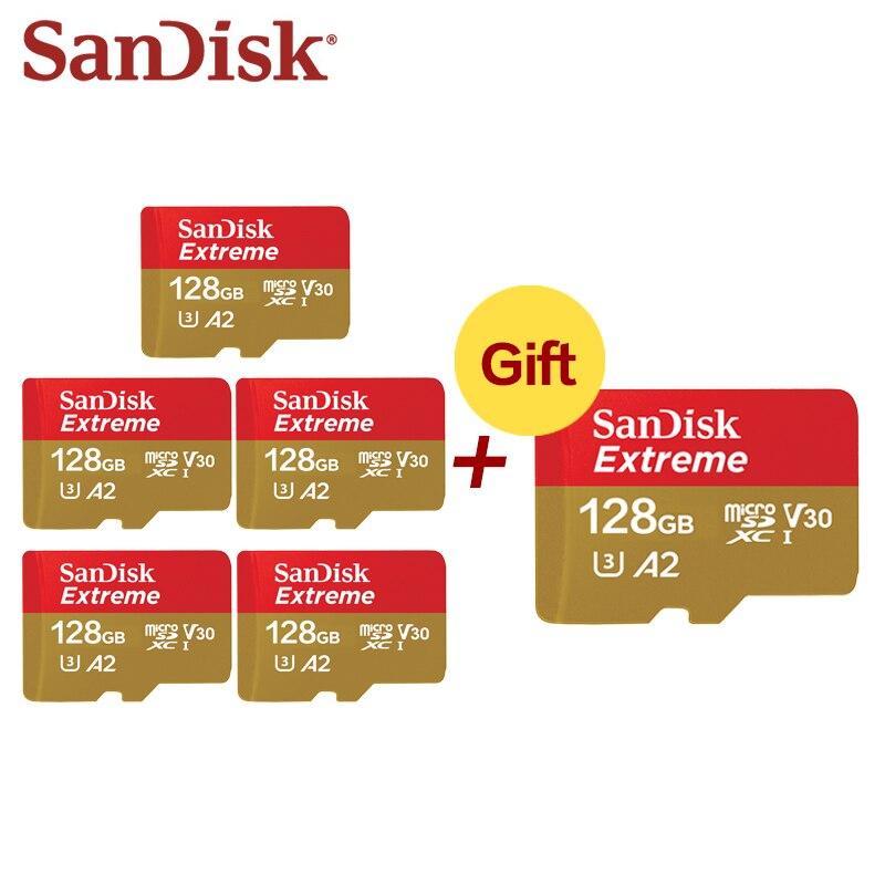Achetez cinq obtenez une carte Sandisk TF gratuite 64GB carte Micro SD 32GB A1 A2 4K U3 V30 carte Micro SD UHS-I 128GB 5 + 1 carte Flash