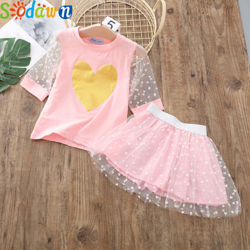 Sodawn Girl Children's Sets 2020 New Summer Kid Cartoon T-shirt And Skirt 2pcs Outfit Girls Flowers Clothes