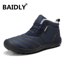 Winter Boots Shoes Ankle High-Top Waterproof Men's Warm Plush Fur No Masculina