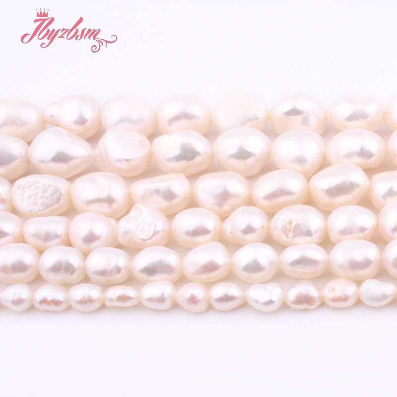"""5-7/8-9/9-10/10-11mm perla de agua dulce patata blanca perlas sueltas de piedra Natural para mujeres DIY joyería hacer collar pulsera 15"""""""