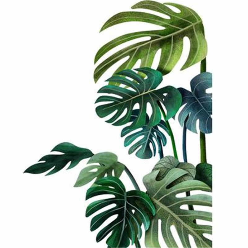 Autocollant mural plantes tropicales avec feuilles, décoration pour chambre d'enfant, style nordique, forêt verte