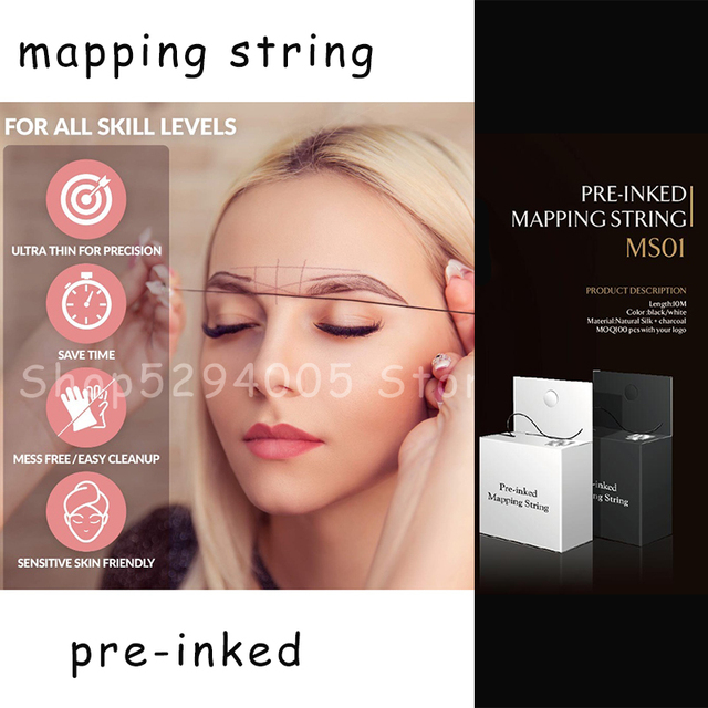 Microblading Pre-Inked Brow Mapping Strings pigment string PMU Accessories Brow Mapping Thread For Eyebrow for Permanent Makeup