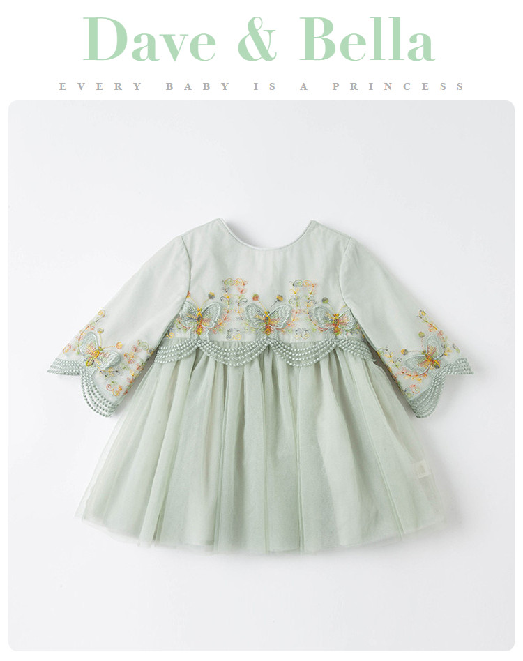 Vestido de malha infantil db16614, vestido de