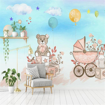 milofi factory custom wallpaper mural Nordic 3d Nordic hand-painted cartoon animal balloon children's room background wall недорого