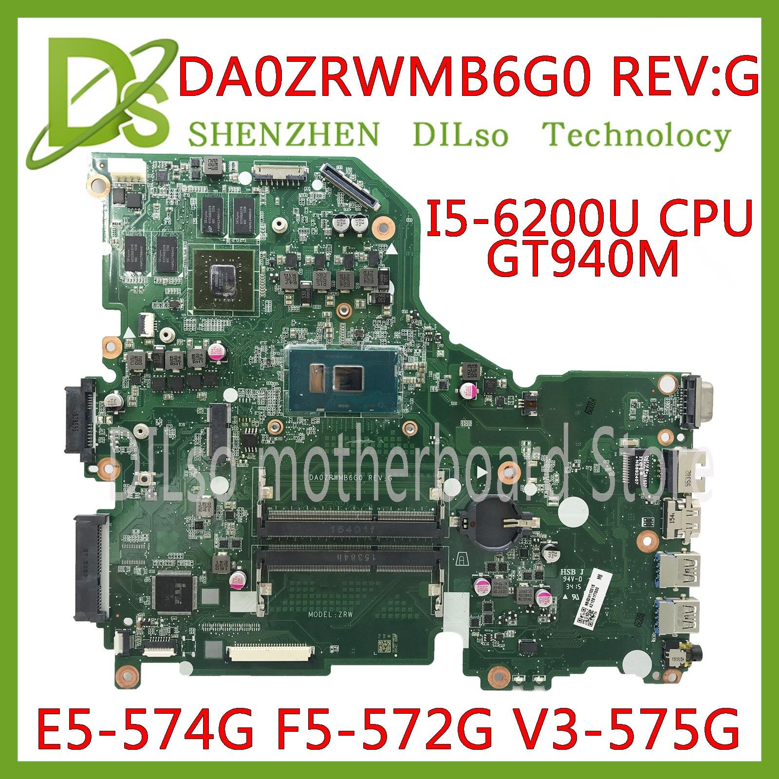 KEFU E5-574G Mainboard For Acer Aspire E5-574 E5-574G F5-572 V3-575 V3-575G Motherboard I5-6200U CPU DA0ZRWMB6G0 Test Original