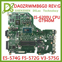 KEFU E5 574G mainboard For Acer Aspire E5 574 E5 574G F5 572 V3 575 V3 575G Motherboard I5 6200U CPU DA0ZRWMB6G0 Test original