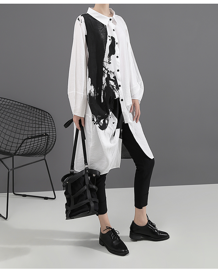 New Fashion Style Painting Plus Size Print Shirt Dress Fashion Nova Clothing