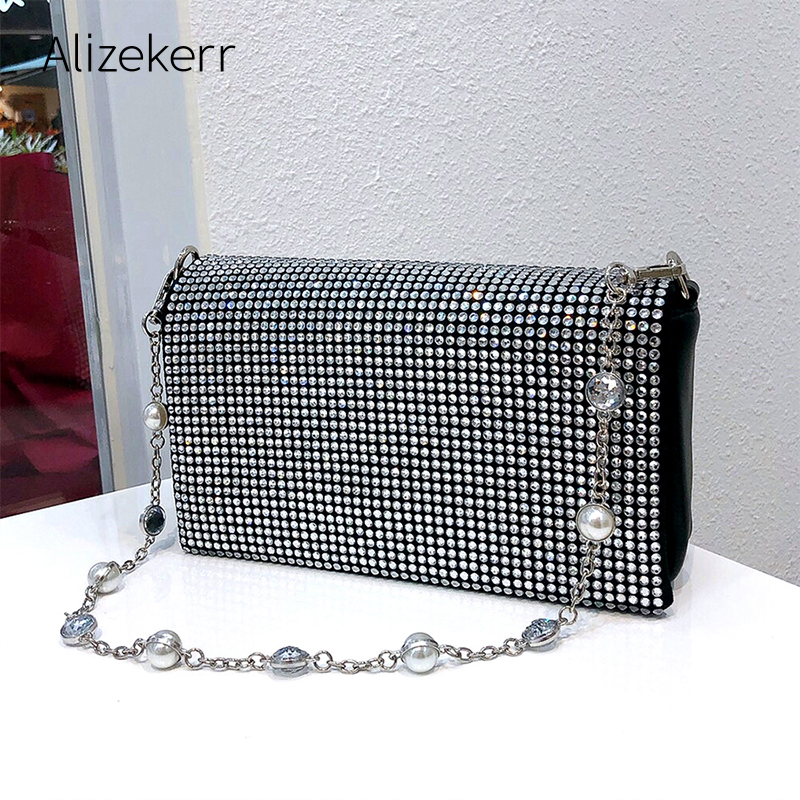 Rhinestone Pearl Evening Bag Women Silver Chain Diamond Bags Handbag Clutch Purse Ladies Small Square Shoulder Bag High Quality