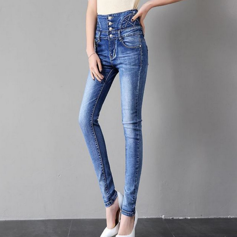 1885 new style women's   jeans   Spring office lady High-waist   jeans   4colour high quality
