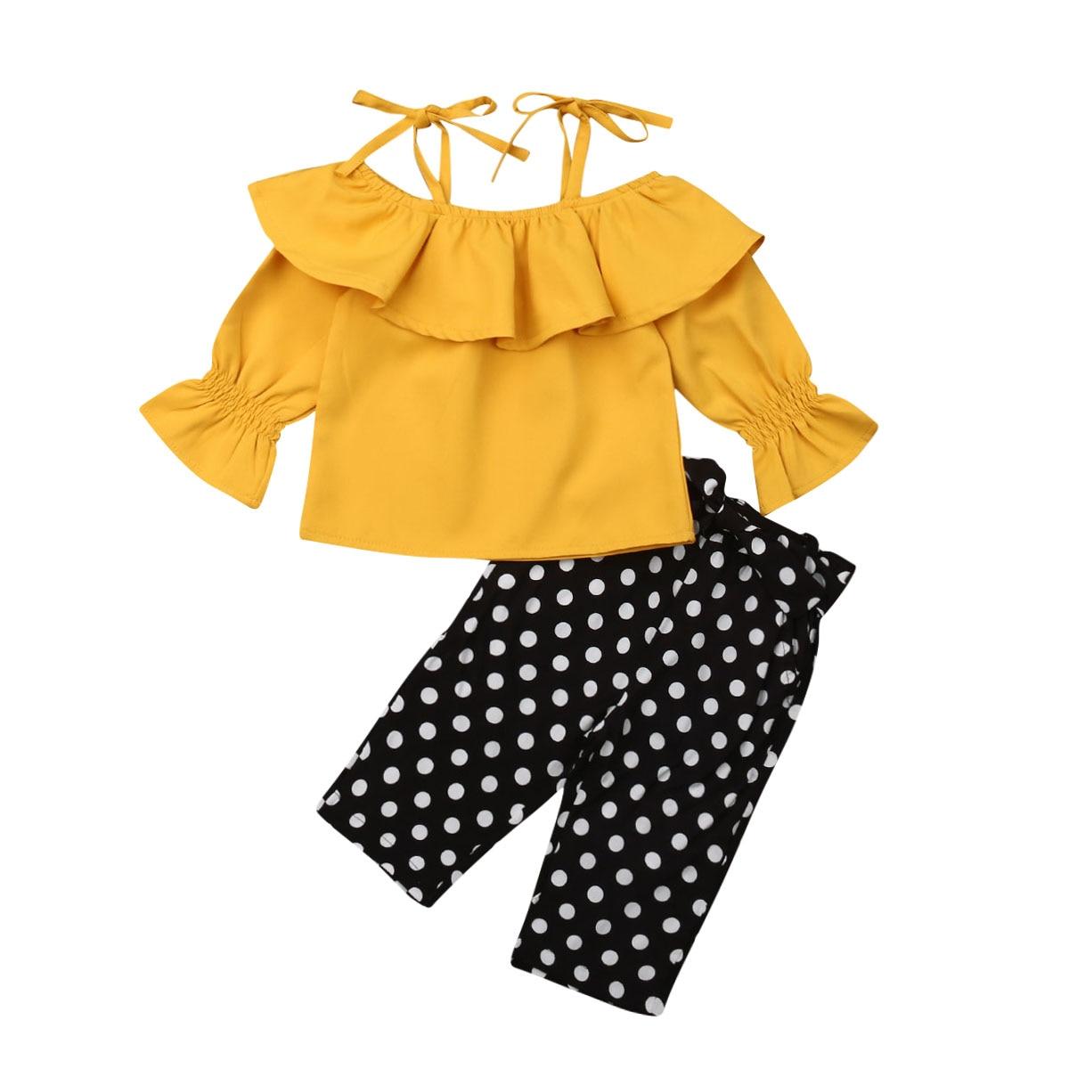 2PCS Toddler Kid Baby Girl Dot Long Sleeve Top Tee Solid Shorts Pants Outfit Set