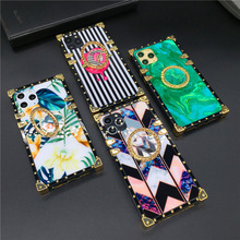 Fashion Lips Flower Plant Silicone Gold Square Case for