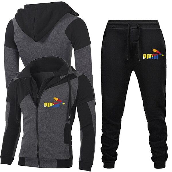 2020 New Autumn Men Tracksuit 2 Piece Sets Hoodies+Pants Sweater Sports Suit Streetswear Jackets 3