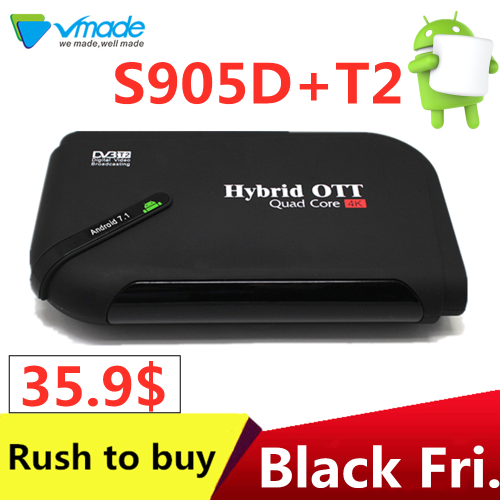 Vmade Hot-sell TV boxe DVB-T2 Android 7.1 WiFi TV Box Amlogic S905D 1G ROM 8G RAM 2.4G 100M Support 4K H.265 DVB T2 Media Player