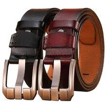 2021 Plus Size Belt Fat 130 140 150cm Men's Business High Quality Cowskin Real Genuine Leather Belt Pin Buckle Waist Belts Jeans