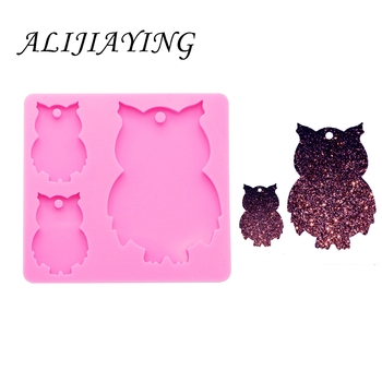 Owl Family Silicone Mould for Keychains Clay DIY Jewelry Making Epoxy Resin Mold