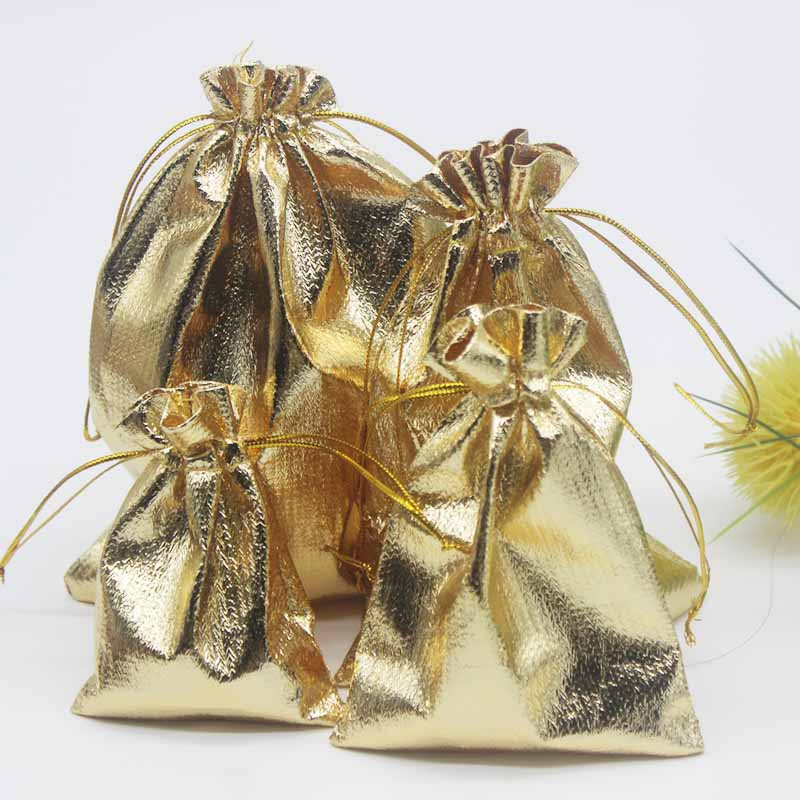 Packaging-Bags Organza-Bag Jewelry Drawstring Four Size Golden/silverColor Candy-Bags Wedding-Decoration Gifts Golden Foil-Cloth