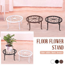 Wrought Iron Potted Stander Home Decor Balcony Create Flower Shelf Stand Floor Durable Round Flower Pot Rack Classic Style