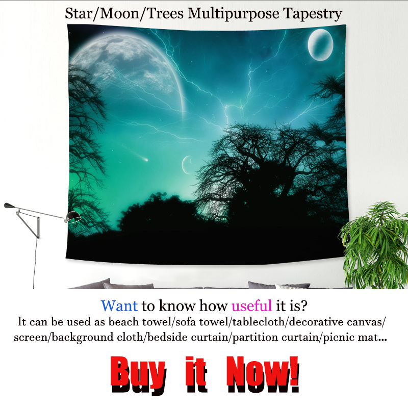 Tapestry wall hanging decoration Star Tree Moon tapestry tablecloth home picture Printed