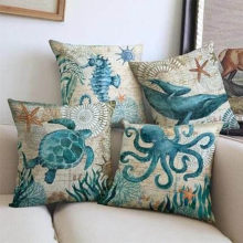 Single-sided Printing Linen Decorative Blue Sea Cushion Cover Marine Animals Ocean Throw Pillow Case for Sofa Chair Car Couch(China)