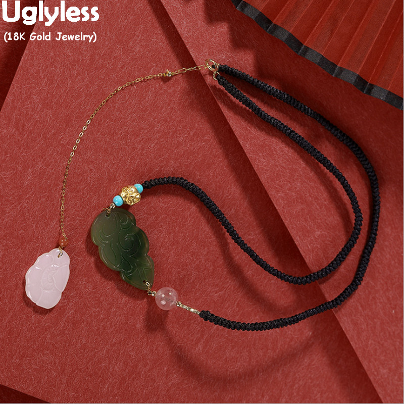 Uglyless Black Rope Chokers for Women Luxury 18K Gold Chains Tassels Natural Jasper Cloud Jade Lotus Necklaces AU750 24K Beads