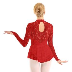 Image 4 - Femmes élégantes vêtements de danse lyrique voir à travers la dentelle patinage artistique justaucorps robe ballerine danse Performance gymnastique Costume