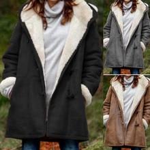 Jacket Winter Men Coat Outwear Hooded Print Plaid Warm Plush Vintage Thick Middle-Length