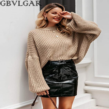2020 Women Loose O Neck Solid Sweater Autumn Winter Lantern Sleeve Knitted Sweater Pullover Female Fashion Sweater Jumper New autumn winter turtleneck knitted warm sweaters women new lantern sleeve side slit jumper pullover solid casual loose sweater top