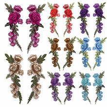 New 2 Pcs Large Rose Flower Embroidery Applique Patches Sew on Pacthes Lace Fabric Motif Clothes Decorated DIY Sewing Supplies