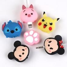 USB kablosu Minnie koruyucu hayvan sevimli karikatür kapak korumak için Iphone kablo kulaklık kablosu arkadaşlar cep telefonu dekor tel