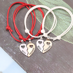 2019 New Charm 2 Pcs/Set Best Friends Bracelets For Women Girls Hollow Out Heart Shape Pendant Bangles Bff Forever Jewelry Gifts(China)