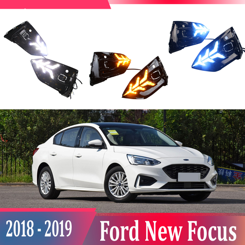 2pcs For Ford Focus 2018-2019 LED Daytime Running Lights DRL with Fog lamp hole Yellow Turn Signal lamp Blue Night light