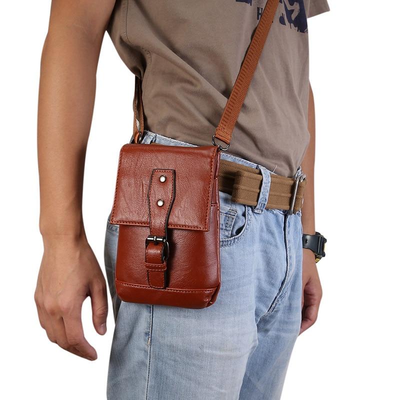 For iPhone 12 Pro 11 X XS Huawei Phone Case 6.5inch Shoulder Bag Men Leather Wallet Storage Diagonal Waist Bags Backpack Handbag