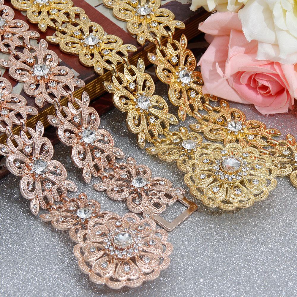 SUNSPICE-MS Rose Gold Color Women Metal Waist Chian Belt Wedding Dress Caftan Traditional Body Jewelry Hollow Out Flower Buckle