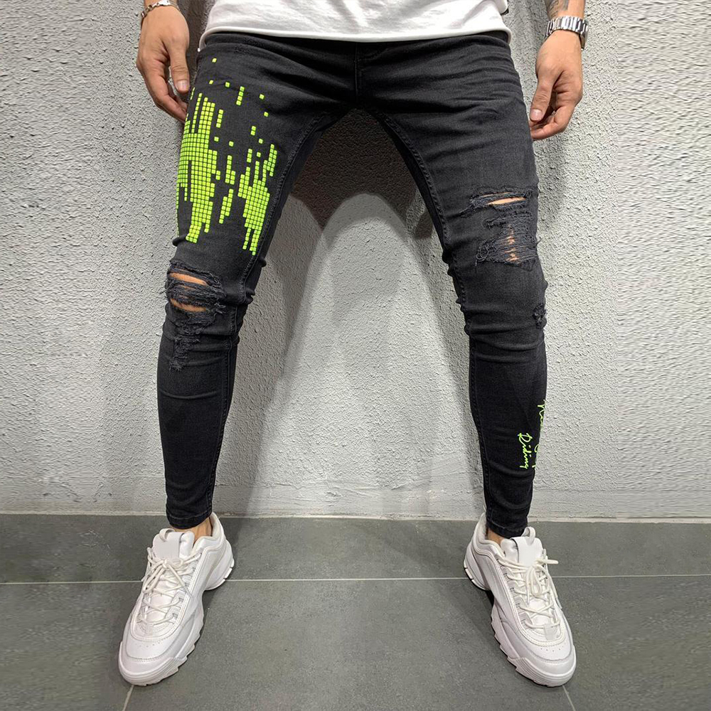 Jeans Men Print Patchwork Hole Ripped Mens Black Jeans Fashion 2019 Male Skinny Denim Pencil Pants Slim Trousers Streetwear D25